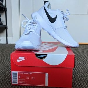 White Nike Rosche One with Black Swoosh